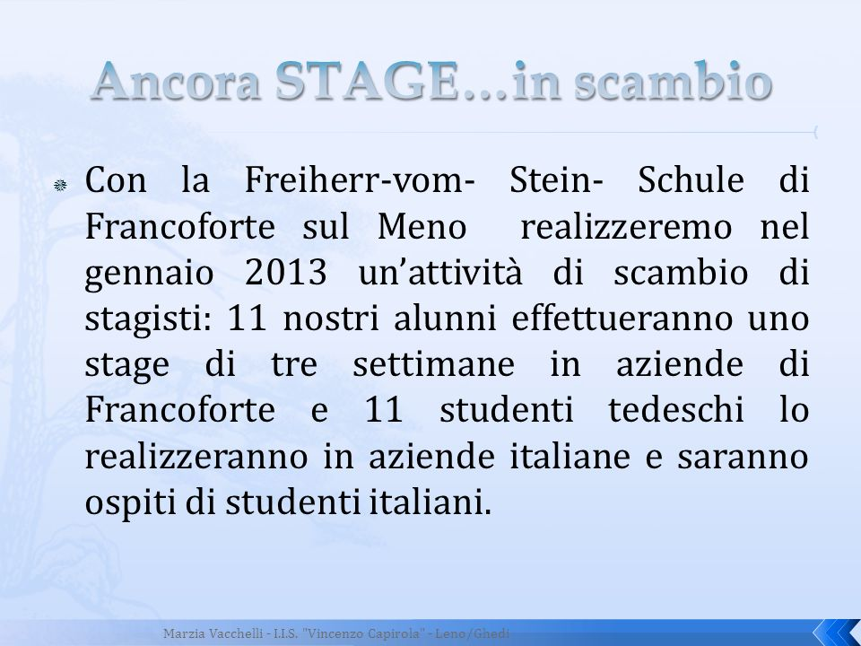 Ancora STAGE…in scambio