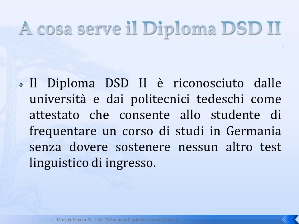 A cosa serve il Diploma DSD II