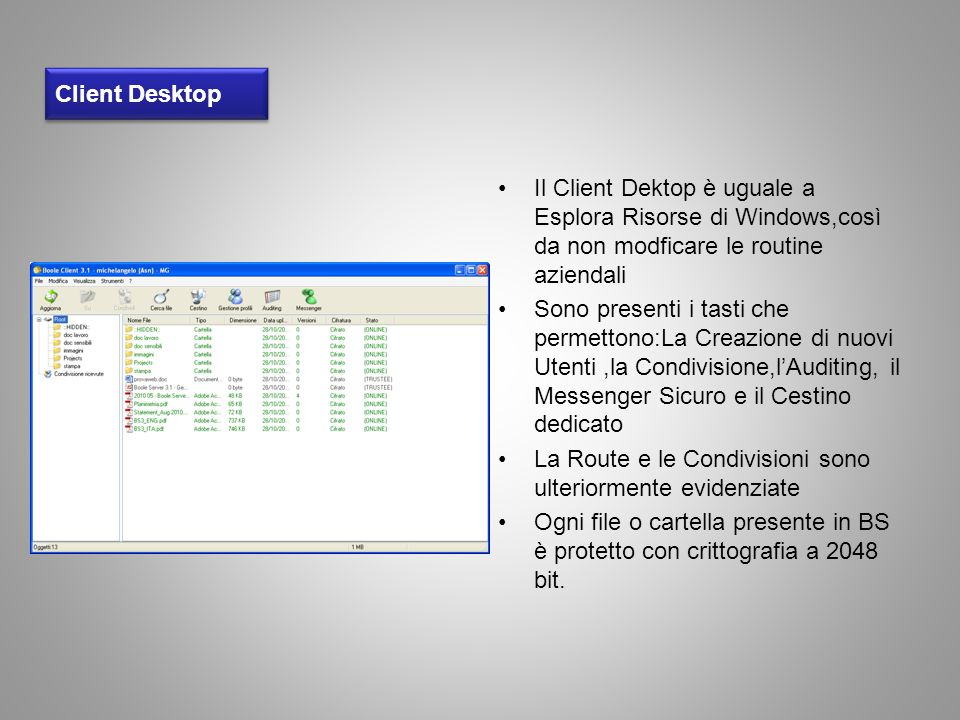 Client Desktop Il Client Dektop è uguale a Esplora Risorse di Windows,così da non modficare le routine aziendali.