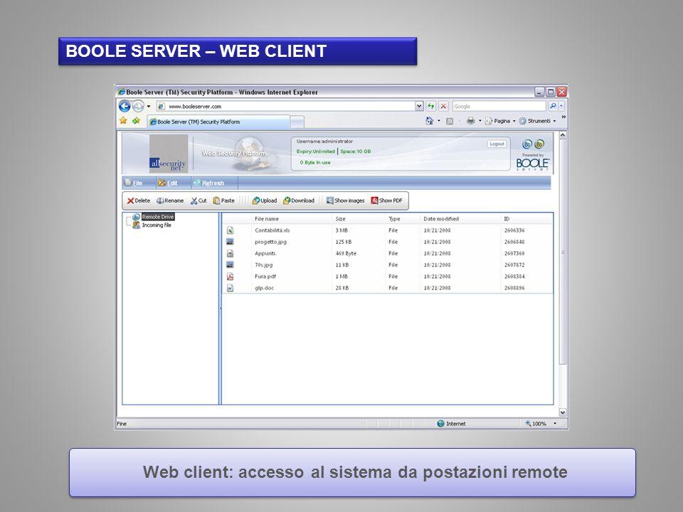 Web client: accesso al sistema da postazioni remote