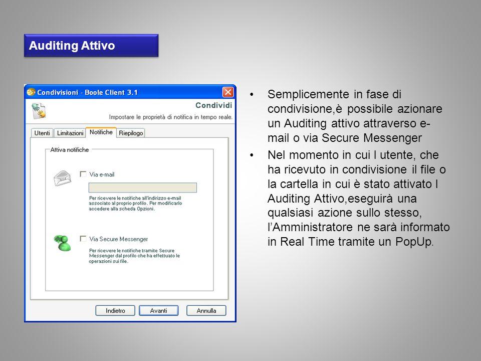 Auditing Attivo Semplicemente in fase di condivisione,è possibile azionare un Auditing attivo attraverso e-mail o via Secure Messenger.