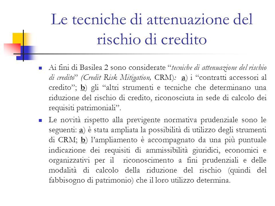 Le tecniche di attenuazione del rischio di credito