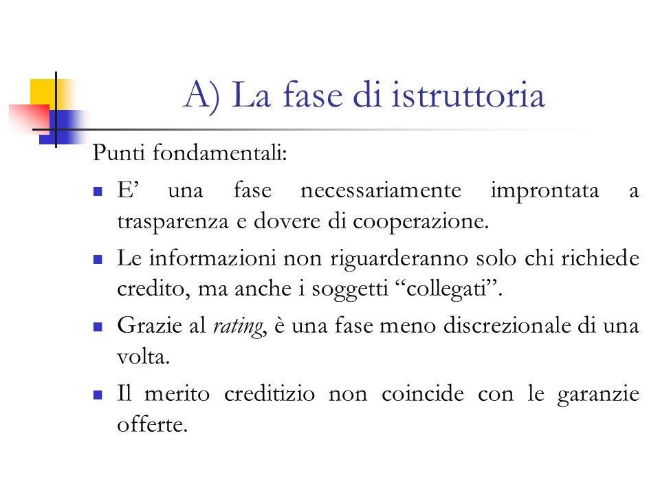 A) La fase di istruttoria