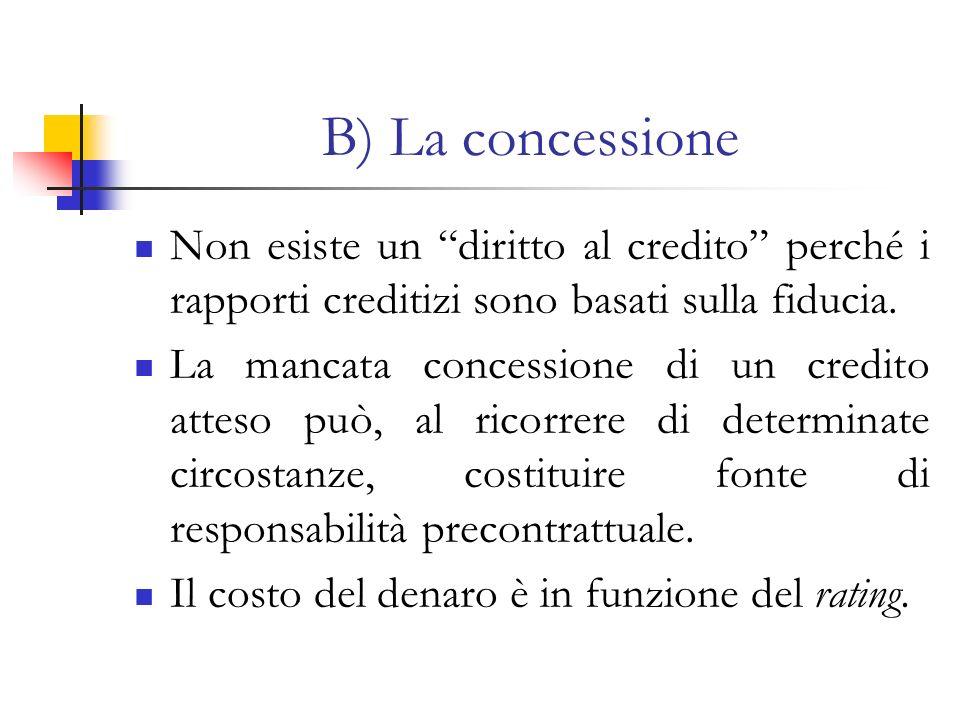 B) La concessione Non esiste un diritto al credito perché i rapporti creditizi sono basati sulla fiducia.