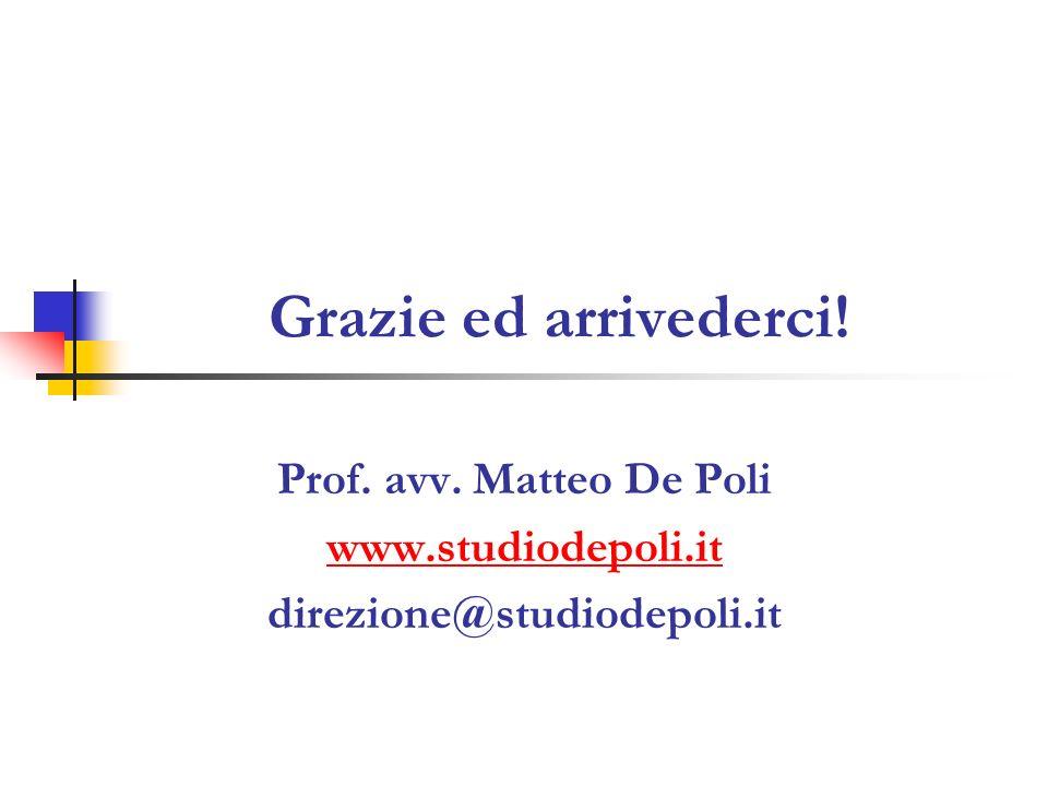 Grazie ed arrivederci! Prof. avv. Matteo De Poli www.studiodepoli.it