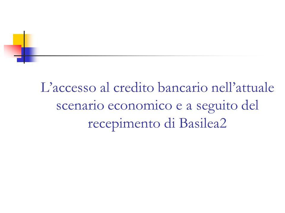 L'accesso al credito bancario nell'attuale scenario economico e a seguito del recepimento di Basilea2