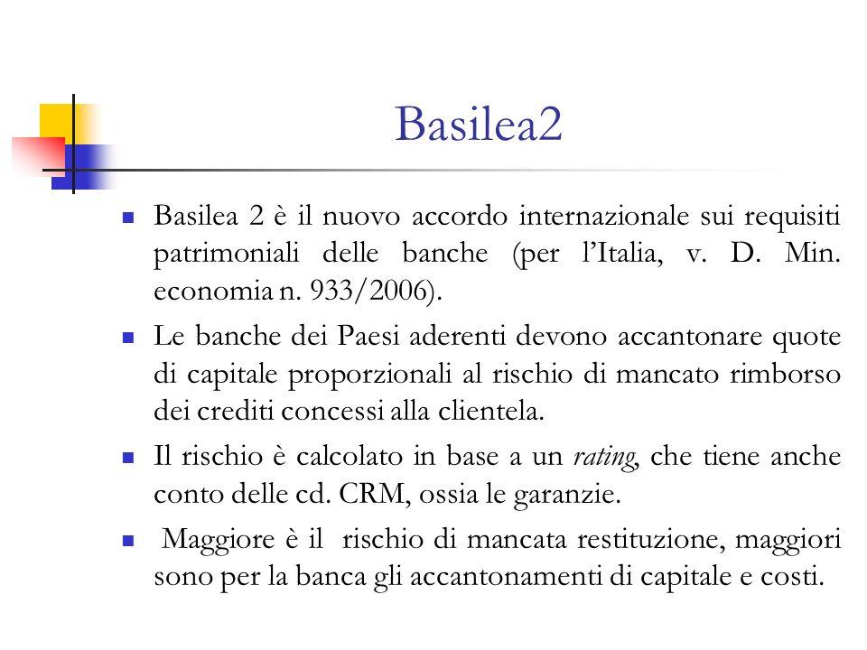 Basilea2 Basilea 2 è il nuovo accordo internazionale sui requisiti patrimoniali delle banche (per l'Italia, v. D. Min. economia n. 933/2006).