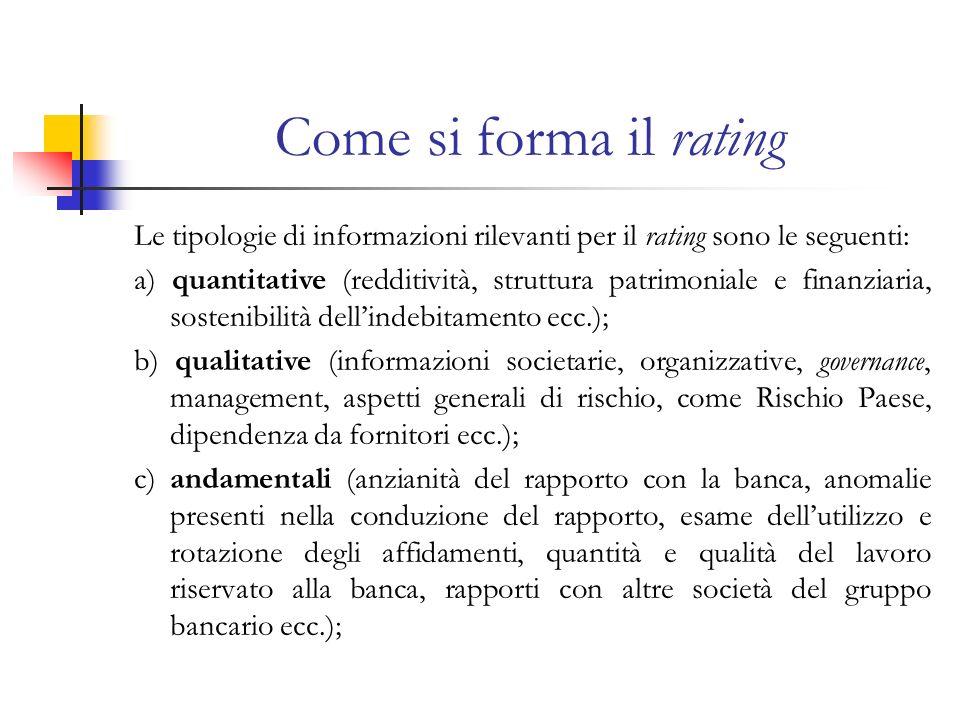 Come si forma il rating Le tipologie di informazioni rilevanti per il rating sono le seguenti:
