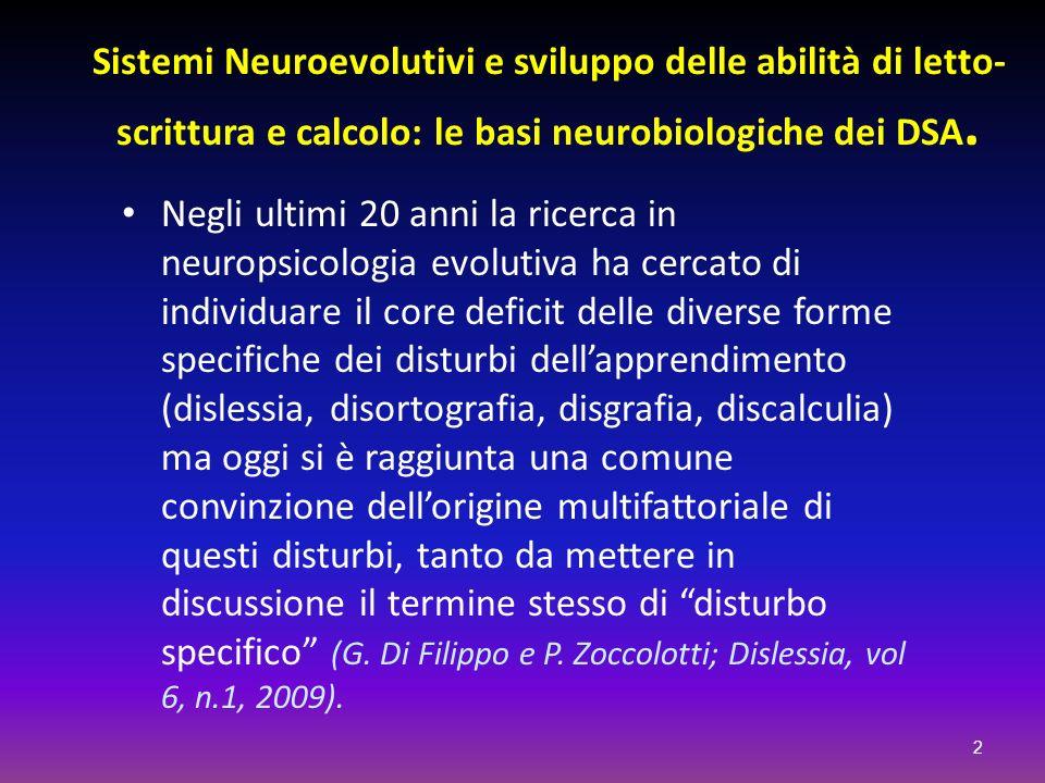 Sistemi Neuroevolutivi e sviluppo delle abilità di letto-scrittura e calcolo: le basi neurobiologiche dei DSA.