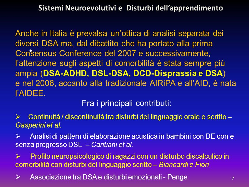 Sistemi Neuroevolutivi e Disturbi dell'apprendimento