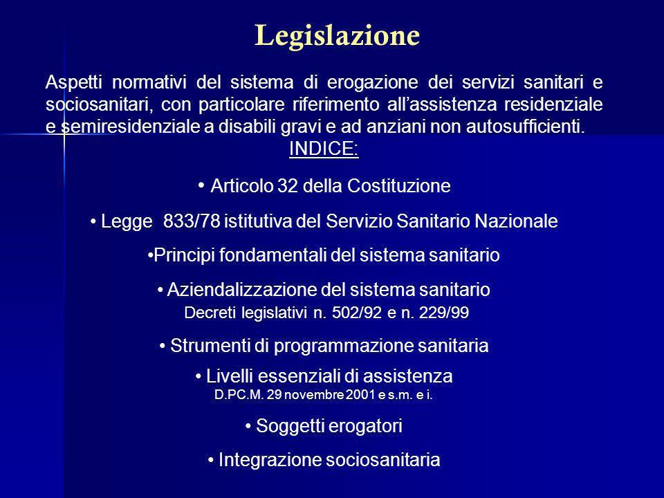 Legislazione Articolo 32 della Costituzione