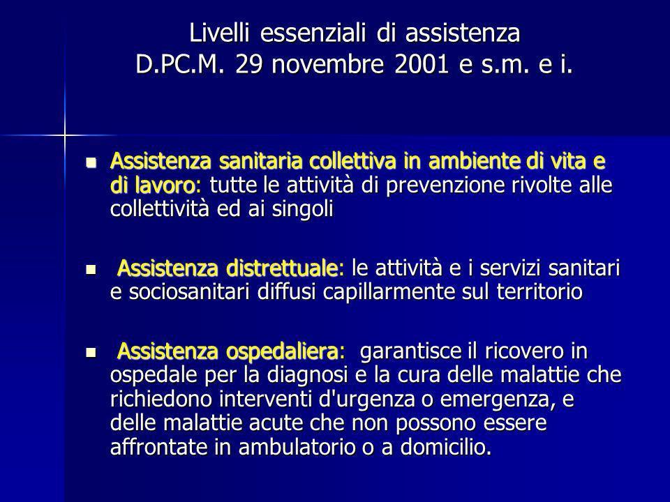 Livelli essenziali di assistenza D.PC.M. 29 novembre 2001 e s.m. e i.