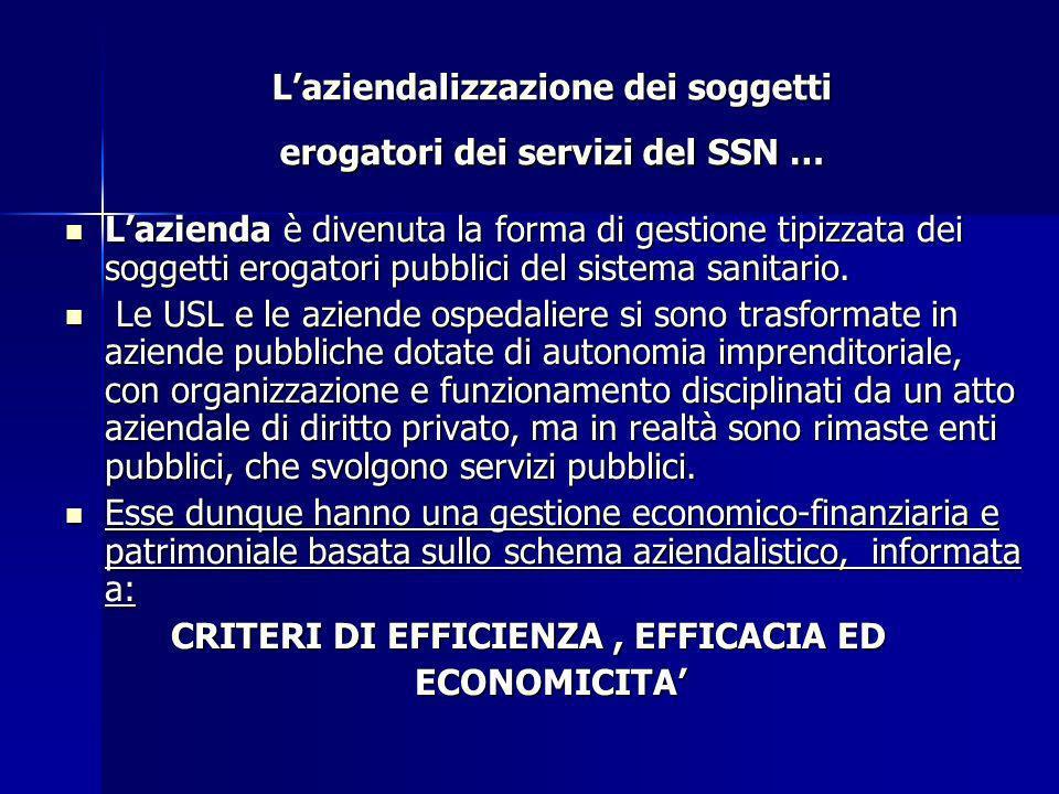 L'aziendalizzazione dei soggetti erogatori dei servizi del SSN …