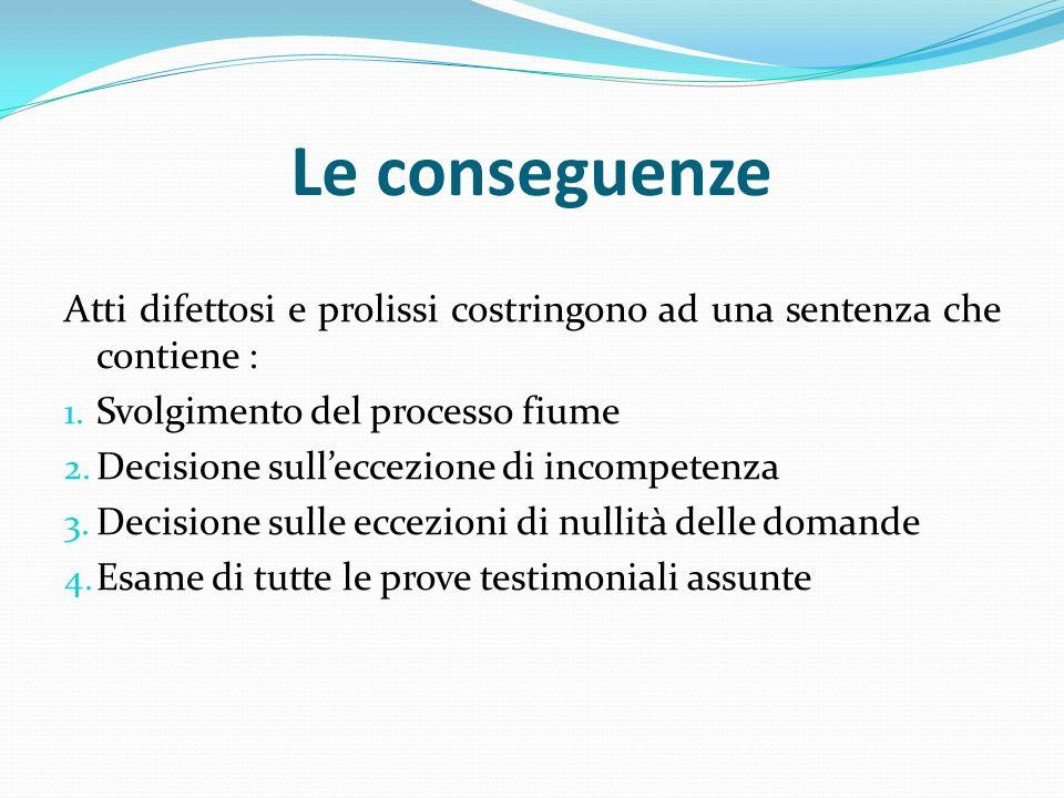 Le conseguenze Atti difettosi e prolissi costringono ad una sentenza che contiene : Svolgimento del processo fiume.