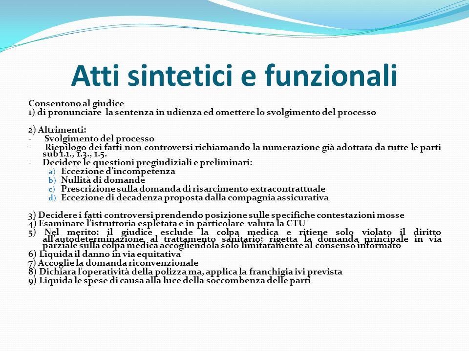 Atti sintetici e funzionali