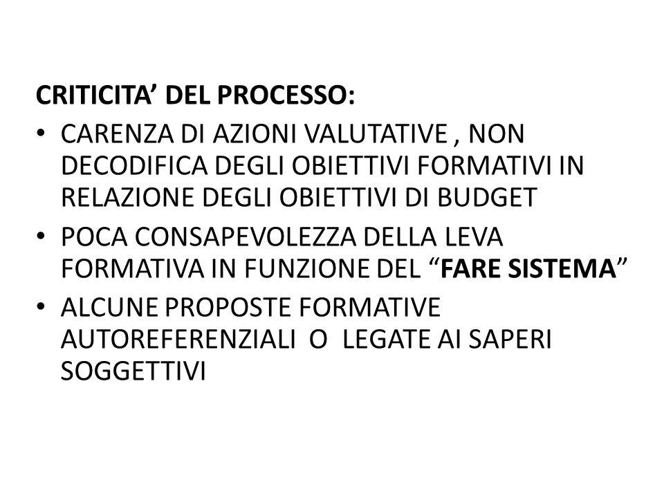 CRITICITA' DEL PROCESSO: