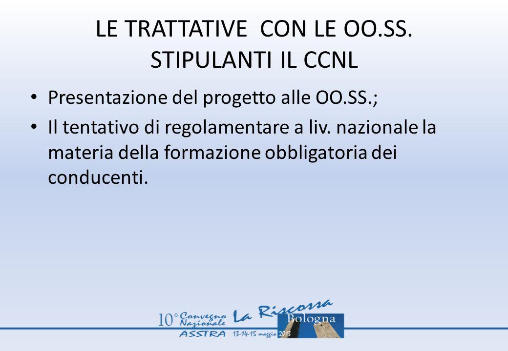 LE TRATTATIVE CON LE OO.SS. STIPULANTI IL CCNL