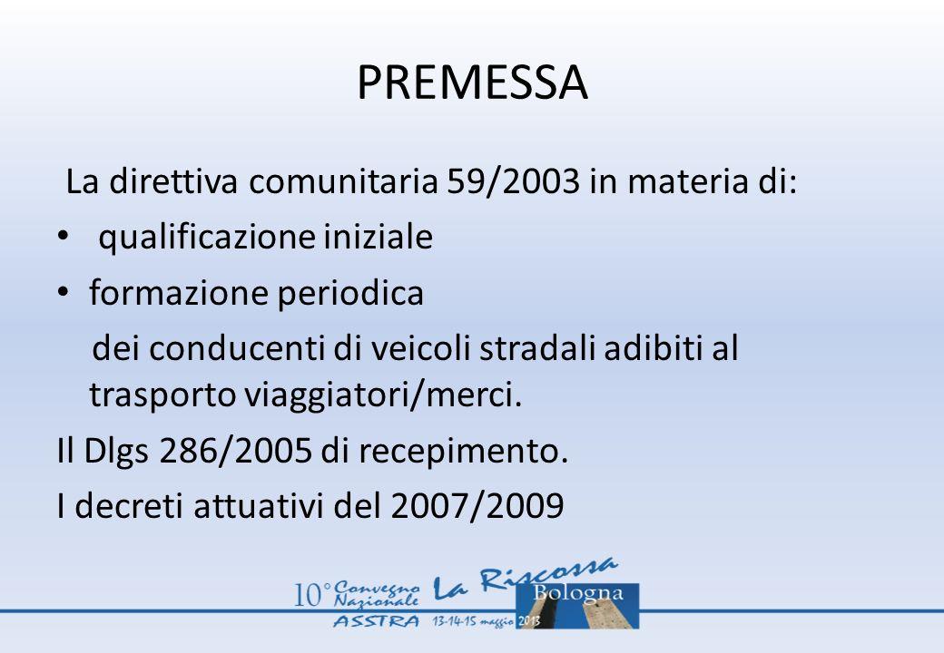 PREMESSA La direttiva comunitaria 59/2003 in materia di: