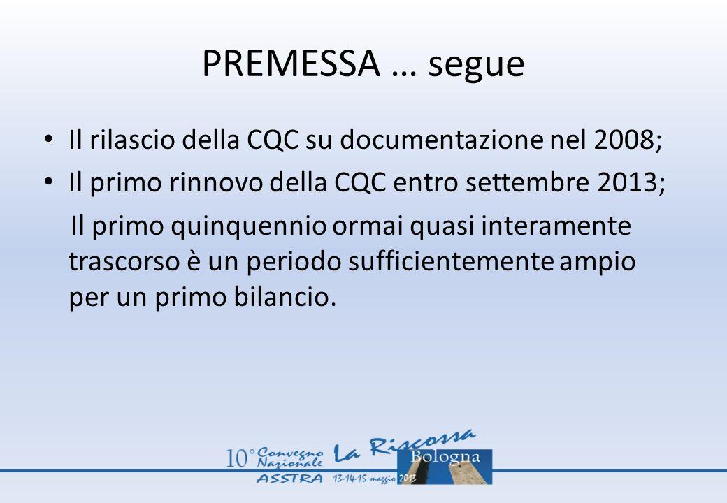PREMESSA … segue Il rilascio della CQC su documentazione nel 2008;