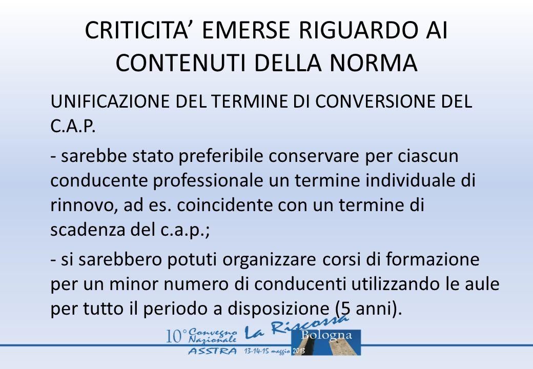 CRITICITA' EMERSE RIGUARDO AI CONTENUTI DELLA NORMA