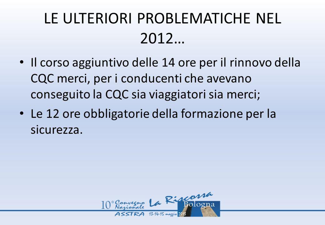 LE ULTERIORI PROBLEMATICHE NEL 2012…