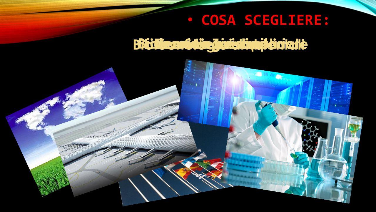 COSA SCEGLIERE: Biotecnologie sanitarie Biotecnologie ambientali