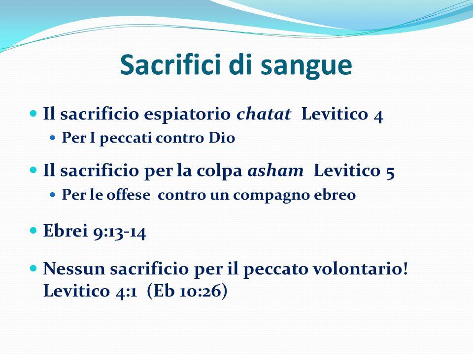 Sacrifici di sangue Il sacrificio espiatorio chatat Levitico 4