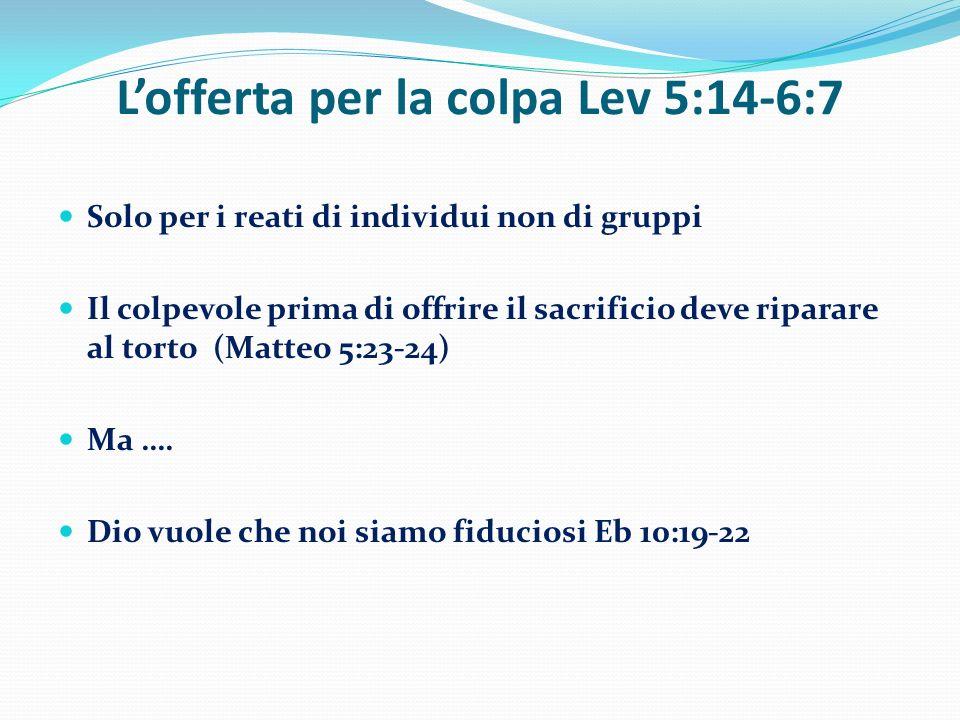L'offerta per la colpa Lev 5:14-6:7