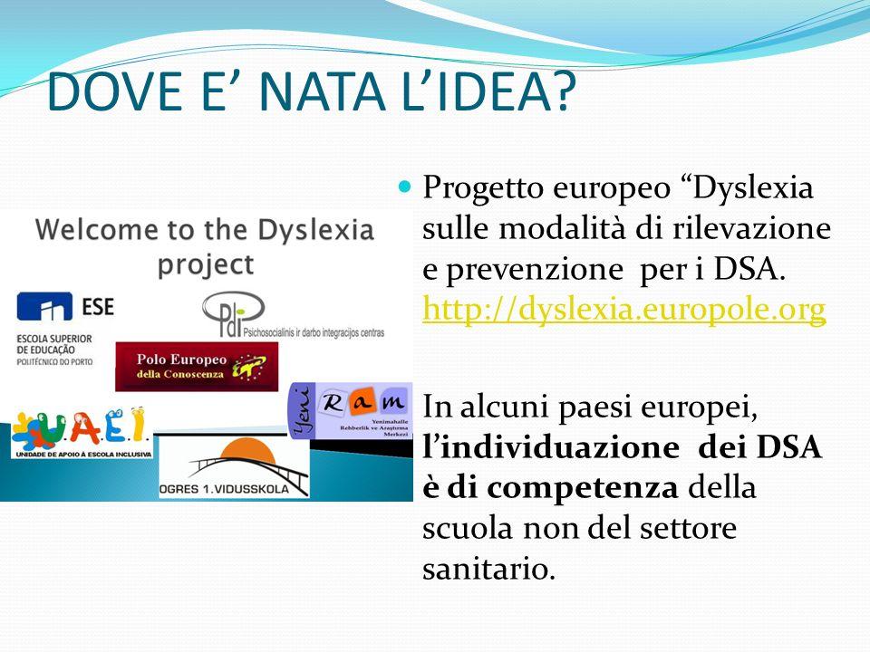 DOVE E' NATA L'IDEA Progetto europeo Dyslexia sulle modalità di rilevazione e prevenzione per i DSA. http://dyslexia.europole.org.