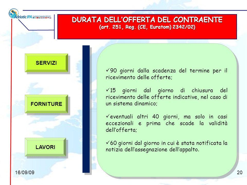 DURATA DELL'OFFERTA DEL CONTRAENTE