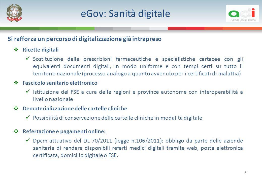 eGov: Sanità digitale Si rafforza un percorso di digitalizzazione già intrapreso. Ricette digitali.