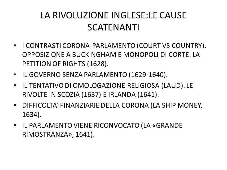 LA RIVOLUZIONE INGLESE:LE CAUSE SCATENANTI