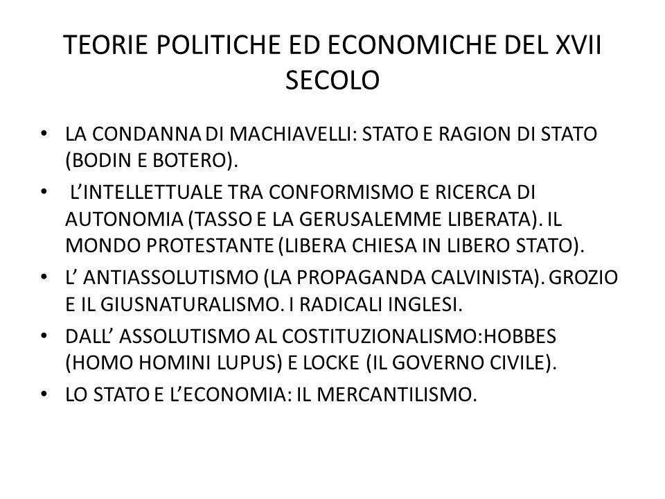 TEORIE POLITICHE ED ECONOMICHE DEL XVII SECOLO