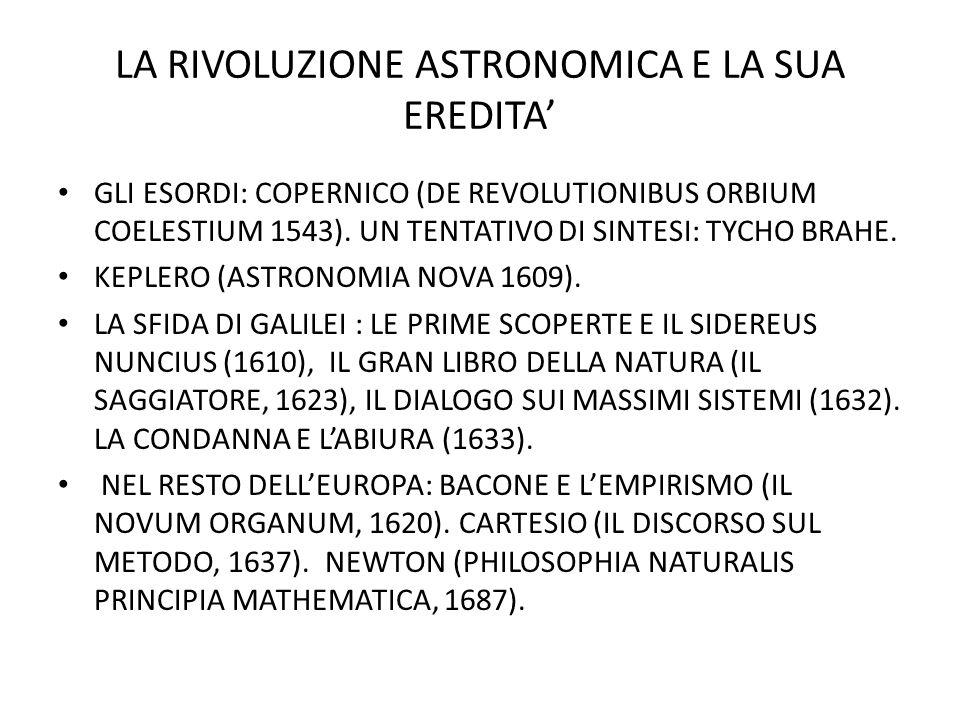 LA RIVOLUZIONE ASTRONOMICA E LA SUA EREDITA'