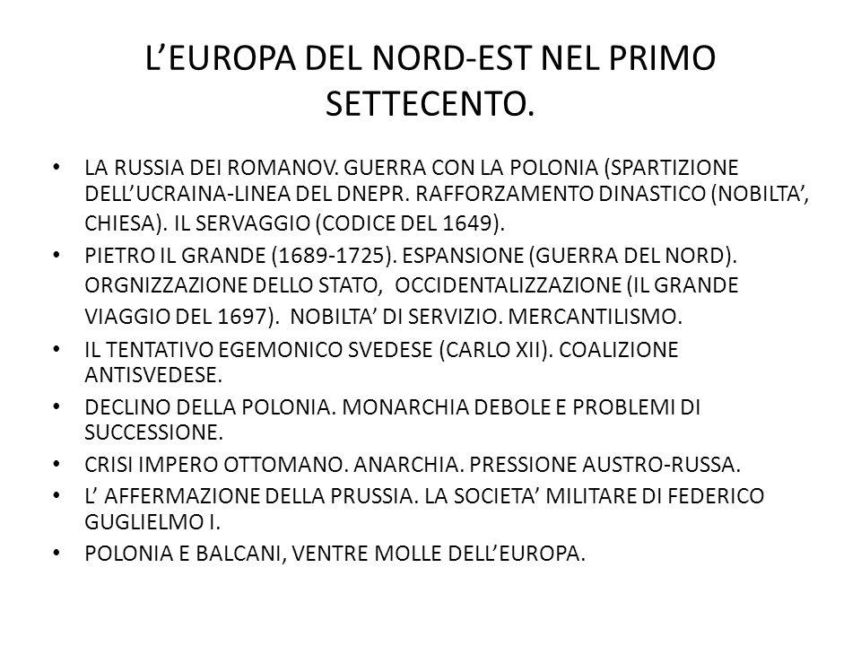 L'EUROPA DEL NORD-EST NEL PRIMO SETTECENTO.