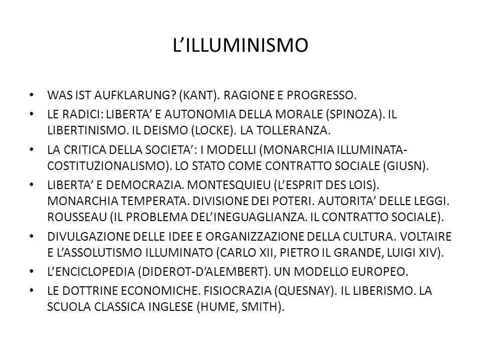 L'ILLUMINISMO WAS IST AUFKLARUNG (KANT). RAGIONE E PROGRESSO.