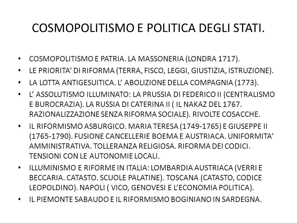 COSMOPOLITISMO E POLITICA DEGLI STATI.