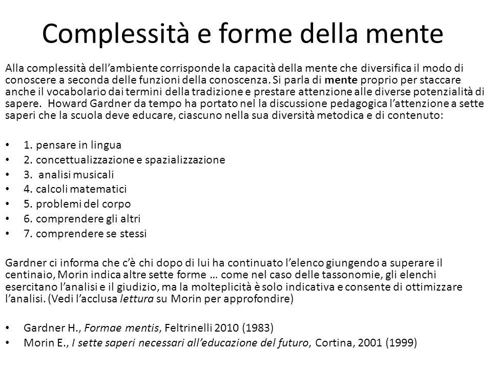 Complessità e forme della mente