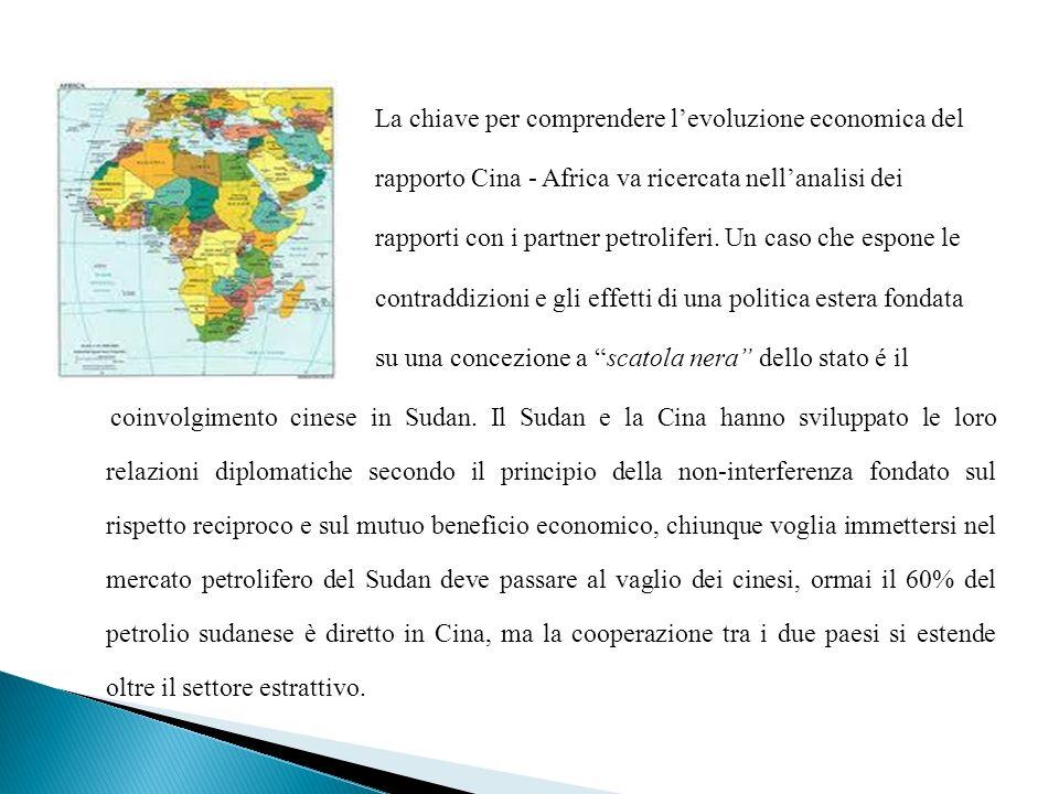 La chiave per comprendere l'evoluzione economica del rapporto Cina - Africa va ricercata nell'analisi dei rapporti con i partner petroliferi.