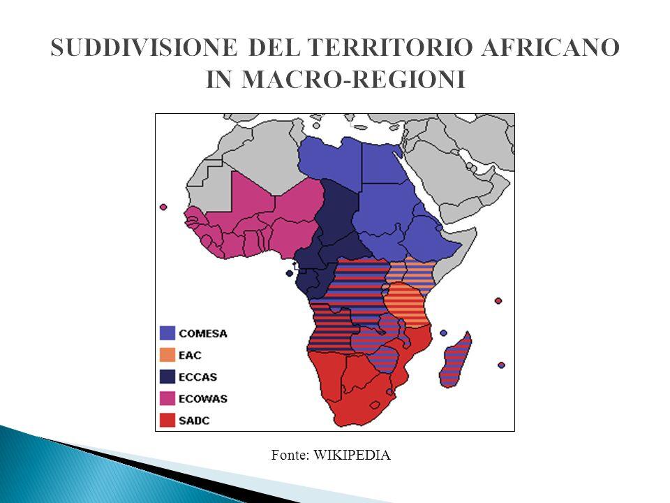 SUDDIVISIONE DEL TERRITORIO AFRICANO IN MACRO-REGIONI
