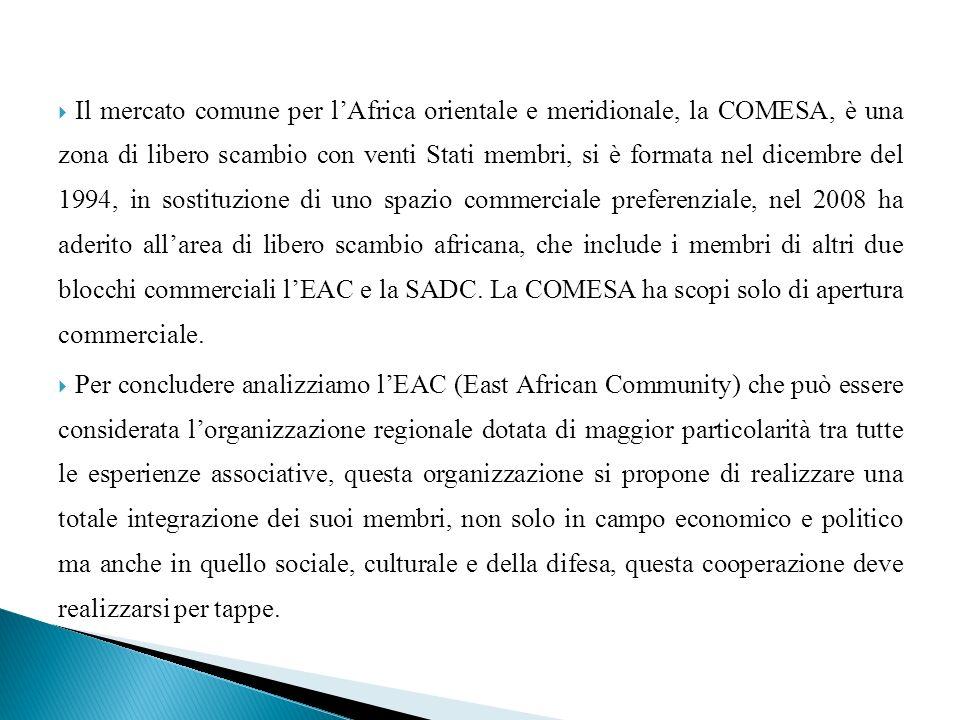 Il mercato comune per l'Africa orientale e meridionale, la COMESA, è una zona di libero scambio con venti Stati membri, si è formata nel dicembre del 1994, in sostituzione di uno spazio commerciale preferenziale, nel 2008 ha aderito all'area di libero scambio africana, che include i membri di altri due blocchi commerciali l'EAC e la SADC. La COMESA ha scopi solo di apertura commerciale.