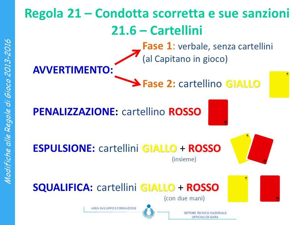 Regola 21 – Condotta scorretta e sue sanzioni 21.6 – Cartellini