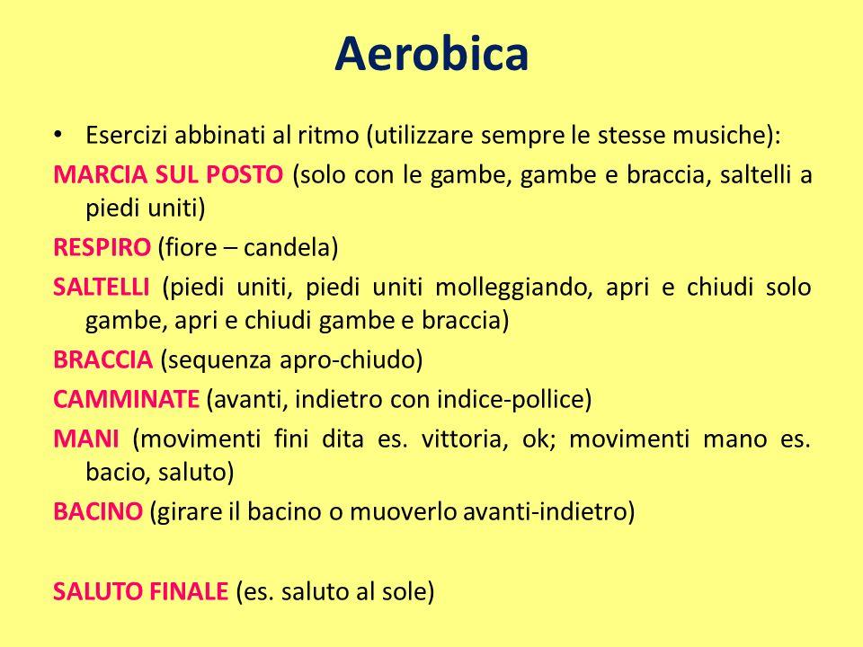Aerobica Esercizi abbinati al ritmo (utilizzare sempre le stesse musiche):