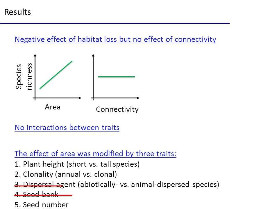 Results Negative effect of habitat loss but no effect of connectivity