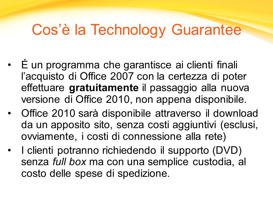 Cos'è la Technology Guarantee