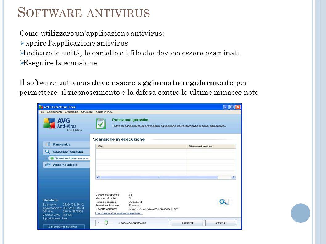 Software antivirus Come utilizzare un'applicazione antivirus: