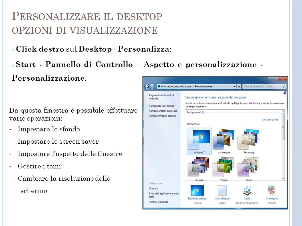 Personalizzare il desktop opzioni di visualizzazione
