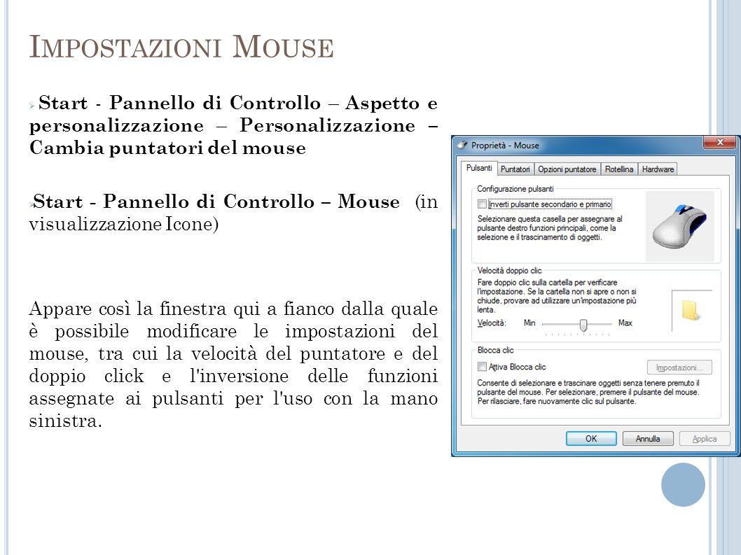 Impostazioni Mouse Start - Pannello di Controllo – Aspetto e personalizzazione – Personalizzazione – Cambia puntatori del mouse.