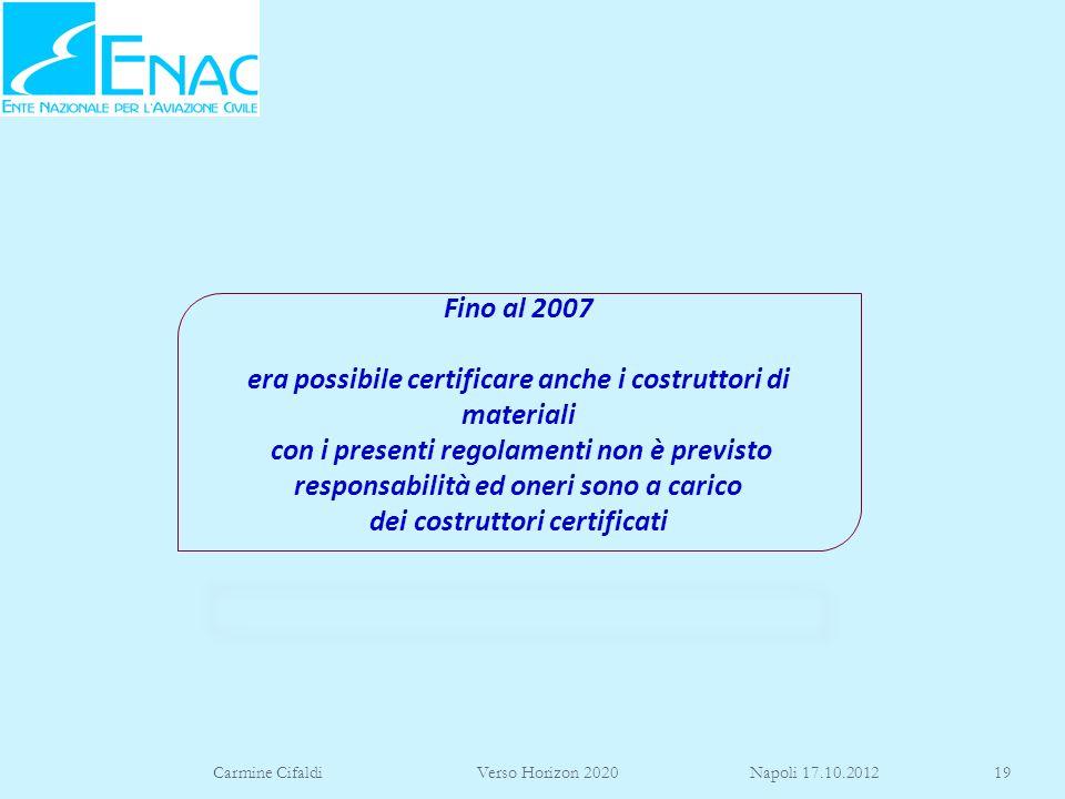 Fino al 2007 era possibile certificare anche i costruttori di materiali con i presenti regolamenti non è previsto responsabilità ed oneri sono a carico dei costruttori certificati