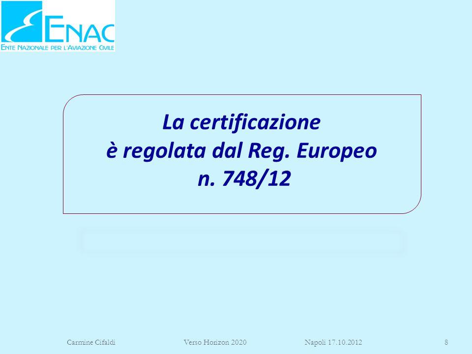 La certificazione è regolata dal Reg. Europeo n. 748/12